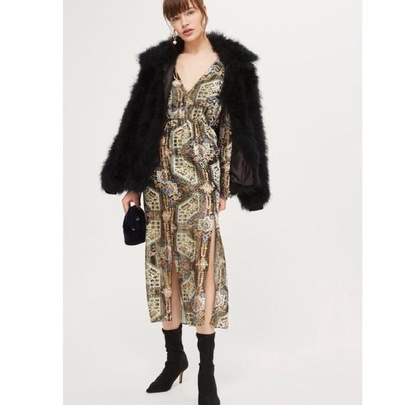 Topshop Dresses & Skirts - Topshop Metallic Devore Plunge Neck Dress